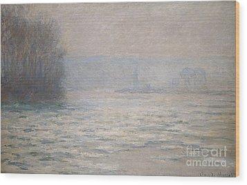 Floods On The Seine Near Bennecourt Wood Print by Claude Monet