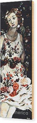 Flora Wood Print by Carrie Joy Byrnes