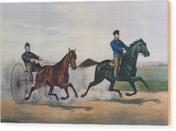 Flora Temple And Lancet Racing On The Centreville Course Wood Print by Currier and Ives