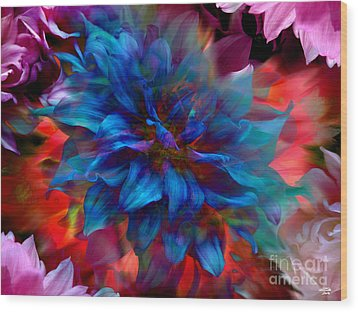 Floral Abstract Color Explosion Wood Print by Stuart Turnbull