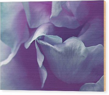 Abstract Blue Purple Green White Flowers Art Work Photography Wood Print by Artecco Fine Art Photography