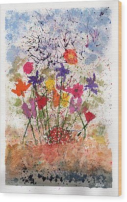 Floral Abstract Wood Print by Zilpa Van der Gragt