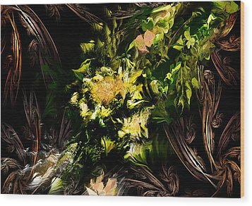 Wood Print featuring the digital art Floral Expression 020215 by David Lane