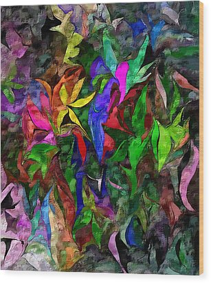 Wood Print featuring the digital art Floral Fantasy 012015 by David Lane