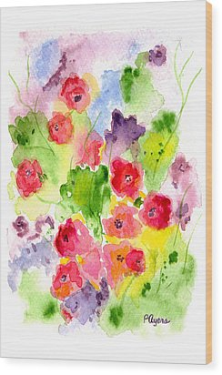 Wood Print featuring the painting Floral Fantasy by Paula Ayers