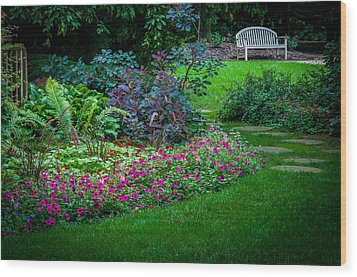 Floral Garden Walk And Park Bench Wood Print
