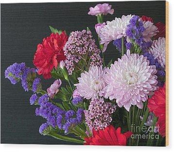 Floral Mix Wood Print by Ann Horn