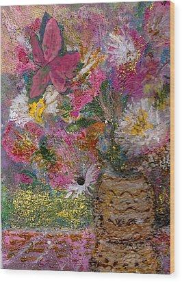 Floral Rhapsody Collage Wood Print by Anne-Elizabeth Whiteway