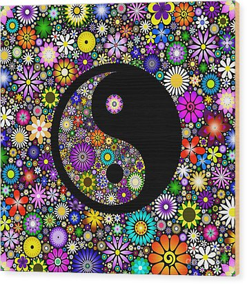 Floral Yin Yang Wood Print by Tim Gainey