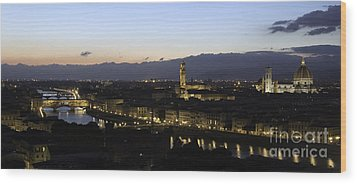 Florence At Night Wood Print by Alex Dudley