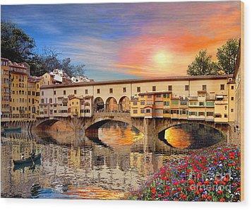Florence Bridge Wood Print by Dominic Davison