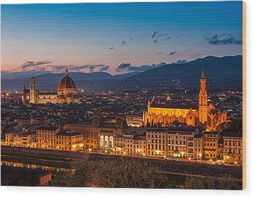 Florence City At Night Wood Print