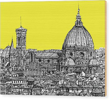 Florence Duomo In Acid Yellow Wood Print by Adendorff Design