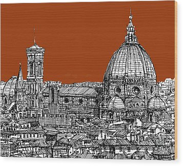 Florence Duomo On Sepia  Wood Print by Adendorff Design