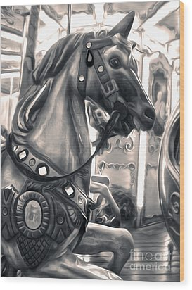 Florence Italy Carousel - 03 Wood Print by Gregory Dyer