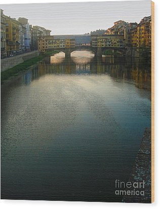 Florence Italy - Ponte Vecchio - Sun Rise Wood Print by Gregory Dyer