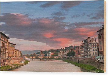 Wood Print featuring the photograph Florence Italy Sunset by Avian Resources