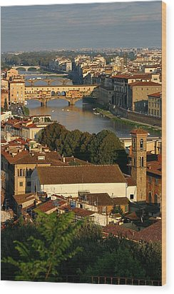 Wood Print featuring the photograph Florence Morning 3 by Henry Kowalski