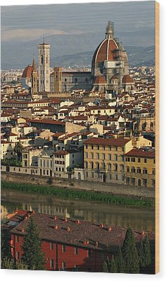 Wood Print featuring the photograph Florence Morning by Henry Kowalski