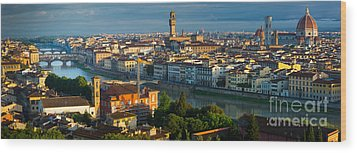 Florence Panorama Wood Print by Inge Johnsson