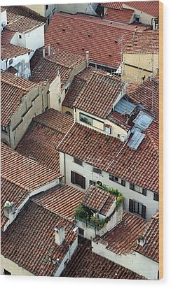 Wood Print featuring the photograph Florence Roof Tiles by Henry Kowalski