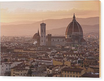 Florence Skyline At Sunset Wood Print by Francesco Emanuele Carucci