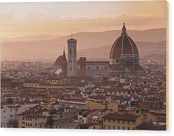 Florence Skyline At Sunset Wood Print
