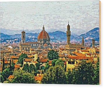 Florence Watercolor Wood Print by Steve Harrington