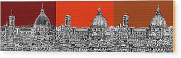 Florence's Duomo In Oranges Wood Print by Adendorff Design
