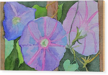 Wood Print featuring the painting Florence's Morning Glories by Beverley Harper Tinsley
