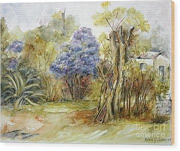 Flores Lilas Y Celestes II Wood Print