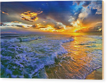 Florida Beach-golden Suntrail Sunset-rolling Sea Waves Wood Print by Eszra Tanner