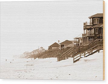 Florida Beach Sepia Print Wood Print