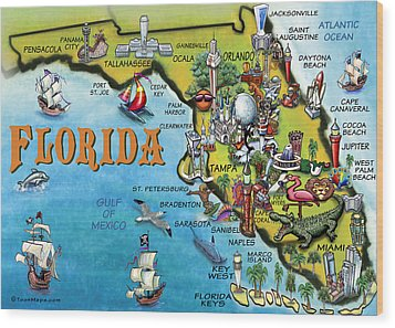 Florida Cartoon Map Wood Print by Kevin Middleton