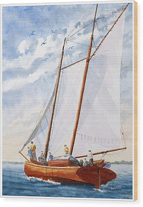 Wood Print featuring the painting Florida Catboat At Sea by Roger Rockefeller