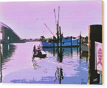 Florida Fishing Dock Wood Print