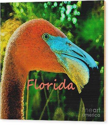 Florida Flamingo Wood Print by Brigitte Emme