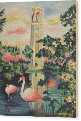 Florida Flamingo's Wood Print by Suzanne  Marie Leclair