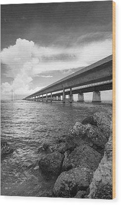 Florida Keys Seven Mile Bridge South Bw Vertical Wood Print