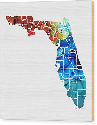 Florida - Map By Counties Sharon Cummings Art Wood Print by Sharon Cummings