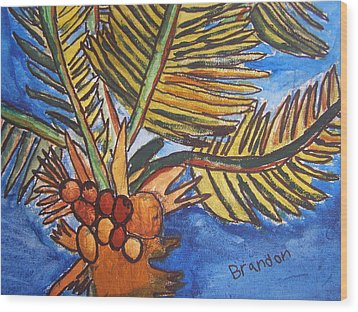 Wood Print featuring the painting Florida Palm by Artists With Autism Inc