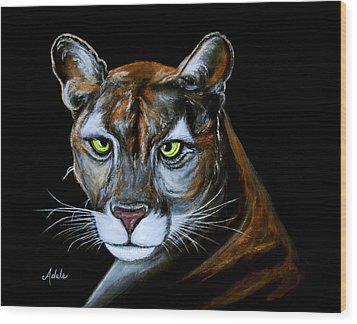 Florida Panther Jeremiah Wood Print by Adele Moscaritolo