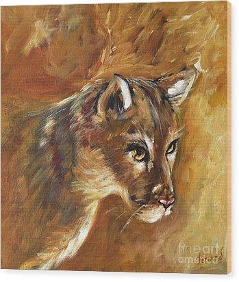 Florida Panther Wood Print by Karen  Ferrand Carroll