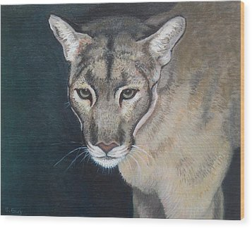 Florida Panther Wood Print by Sharon Guy