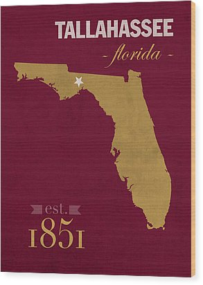 Florida State University Seminoles Tallahassee Florida Town State Map Poster Series No 039 Wood Print by Design Turnpike
