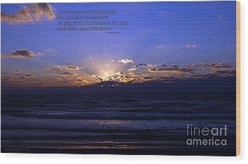 Florida Sunset Beyond The Ocean  - Quote Wood Print by Gena Weiser