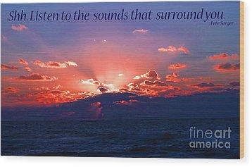 Florida Sunset Beyond The Ocean - Shh Wood Print by Gena Weiser