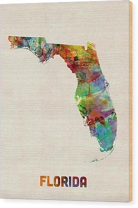 Florida Watercolor Map Wood Print by Michael Tompsett