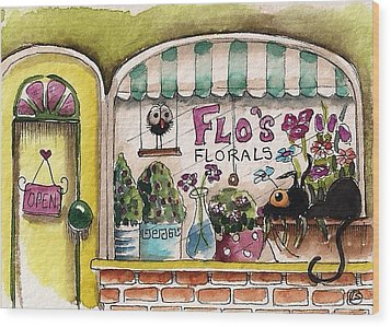Flo's Flowers Wood Print by Lucia Stewart