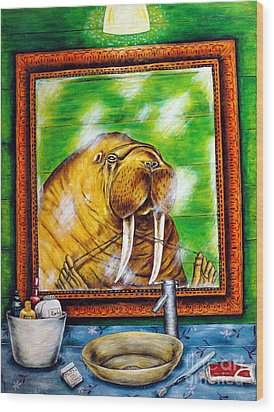 Flossing In The Bathroom Wood Print by Jay  Schmetz